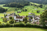 View of the village of Alt St. Johann, Toggenburg, Canton of St. Gallen, Switzerland