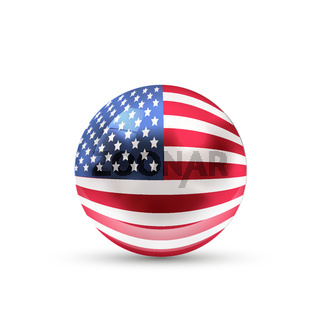 USA flag projected as a glossy sphere on a white background
