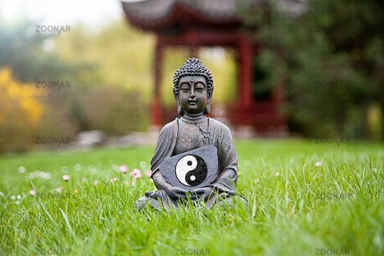 Yin & Yang Sign with Buddha Statue