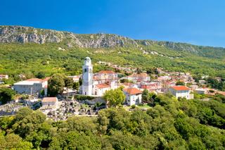 Historic town of Bribir and Vinodol valley cliffs aerial view