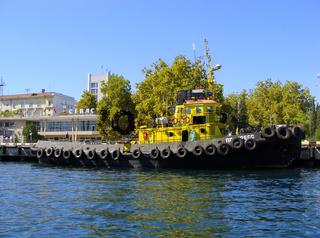 Ukrainian military ship docked in Sevastopol, Crimea