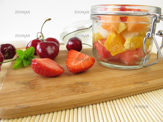 Fruit salad in the glass for takeaway