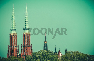 Bell towers of churches in Warsaw