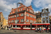 Halle Saale, Germany - June 21, 2019 - market square with tram