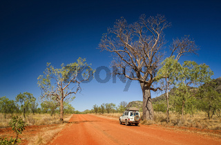Outback track with 4WD vehicle and boab tree at the dry season with blue sky at the Kimberleys - Western Australia