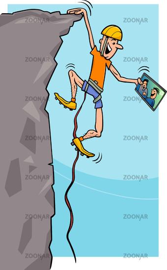 climber with tablet cartoon illustration