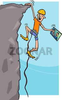 climber with tablet cartoon illustration