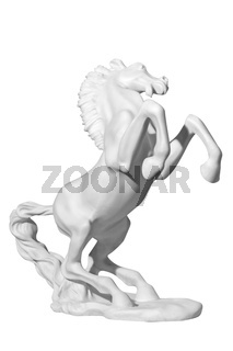 white marble statue of a horse on a white background