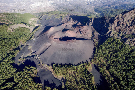 Aerial volcanic landscape formed by the crater of a volcano in Guimar, Tenerife, Canary Islands. High quality photo.