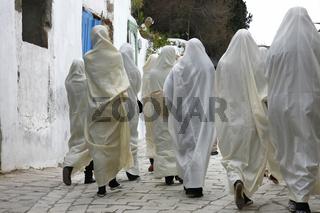 TUNISIA SIDI BOU SAID OLD TOWN WOMEN