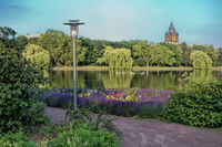 merseburg, germany - 18.06.2019 - city park with lake and water tower