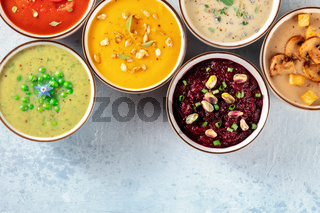 Vegan soup banner with a place for text. Various vegetable soups