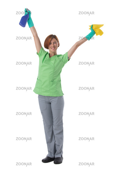 Cleaner woman isolated on white