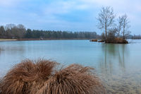 Cold morning at lake Weitmannsee near Augsburg, Bavaria, Germany