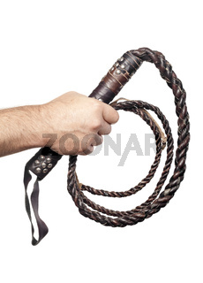male hand holding brown leather whip isolated on white background