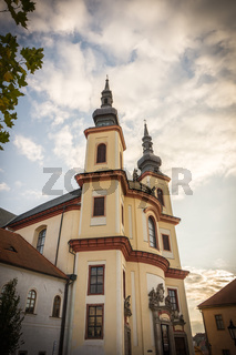 Litomysl, Czech Republic, Church of the Discovery of the Holy Cross and the Piarist Order College. Church is in baroque style. In czech language: Kostel Nalezeni svateho Krize.