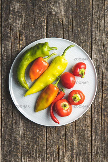 Various types of peppers vegetables.