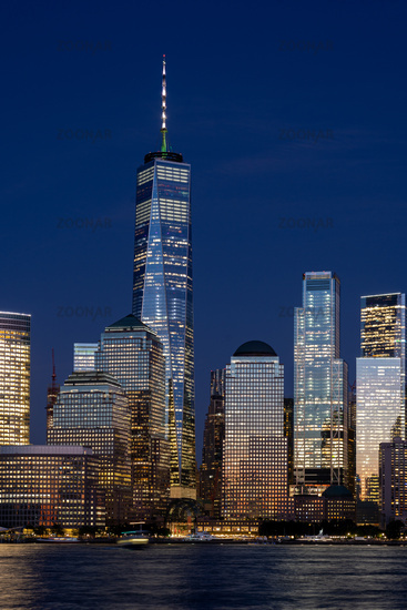 Lower Manhattan Skyline at Night, NYC, USA