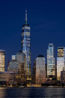 Lower Manhattan Skyline at Night, NYC, USA