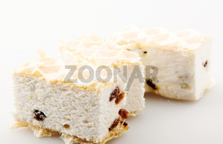 Halva With Raisin And Caramel Isolated On White Background