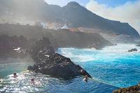 People bathes lava pools Madeira