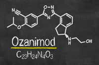 Blackboard with the chemical formula of Ozanimod