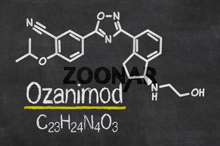 Blackboard with the chemical formula of Ozanimod