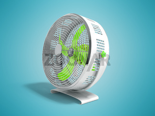 Modern green metal fan for cooling rooms right view 3d render on blue background with shadow