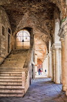 vicenza, italy - 19.03.2019 Stairs at the Palazzo della Ragione