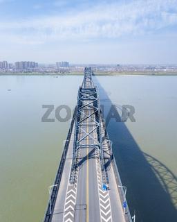 aerial view of jiujiang yangtze river bridge
