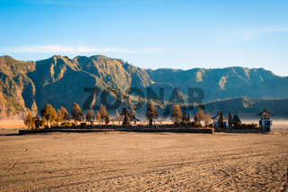 Small temple at volcanic plateau of mount Bromo, Indonesia