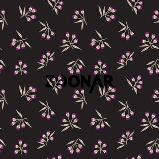 Black Botanical Floral Seamless Pattern Background