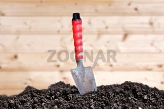 Trowel and soil humus