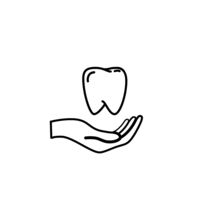 Hand holds a tooth, healthcare concept outline icon on white