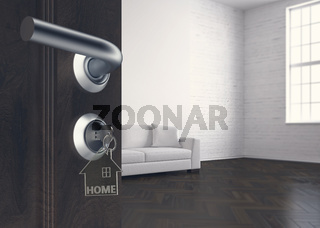 house key with keychains - Illustration