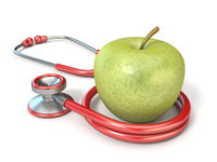 Stethoscope with green apple 3D