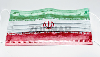 surgical mask with the national flag of Iran printed