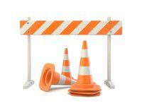 Orange striped barrier wit traffic cones 3D