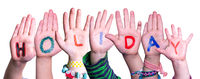 Children Hands Building Word Holiday, Isolated Background