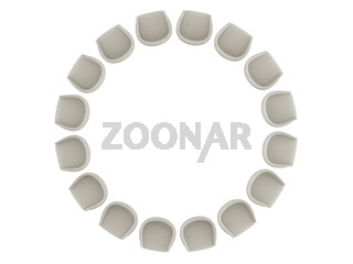 Soft light armchair with two pillows stands in a circle on a white background 3d rendering