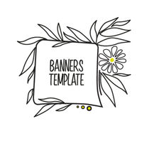 Floral banner with leaves