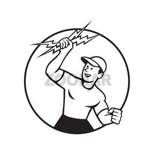 Electrician Holding Up Lightning Bolt Circle Cartoon Black and White