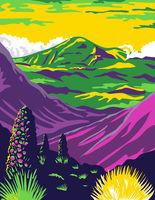 Haleakala National Park and Haleakala Volcano in Maui Hawaii United States WPA Poster Art Color