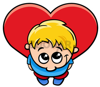valentine card with little boy with large heart