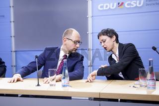 Ukrainian opposition leaders Klitschko and  Jazenjuk at Press conference in Berlin.