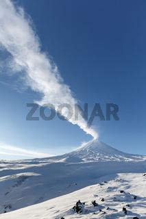 Winter view of eruption Klyuchevskoy Volcano - active volcano of Kamchatka Peninsula