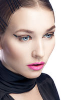 beautiful young woman with fashion makeup isolated