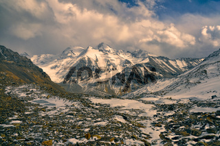 Scenic rocky valley in Pamir mountains in Tajikistan