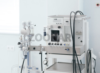 Image of medical ventilator. Hospital respiratory ventilation. Patient life saving machine. Intensive care unit ventilator