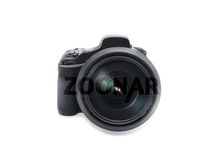 professional Dslr digital photo camera with huge wide angle lens isolated on white